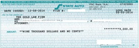 Client Settlement Check Image