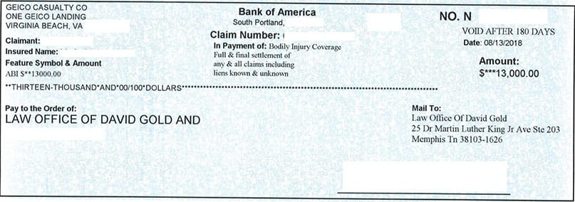 How Long Does It Take Geico To Send Settlement Check >> Client Checks Personal Injury Settlements Gold Law Firm